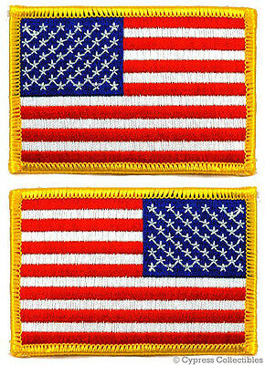 LOT 2 US AMERICAN FLAG MILITARY UNIFORM EMBROIDERED PATCH iron-on GOLD BORDER