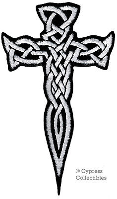 IRISH HERITAGE BIKER PATCH CELTIC DAGGER CROSS iron-on embroidered KNIFE WHITE