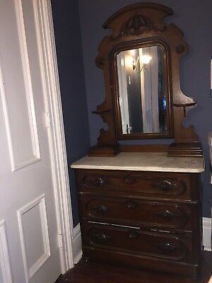Antique Marble Top Carved Wood Dresser with Mirror
