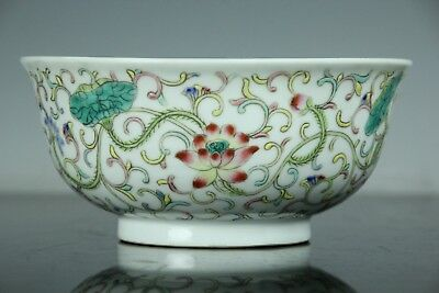 Sep074 Chinese Antique Famille Rose Porcelain Bowl Hand Painted Marked