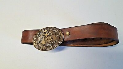Vintage United States Army Chaplain Belt & Buckle Brass Leather 2A Embossed 253