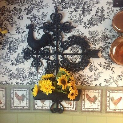 """Vintage Home Interior Rooster Large Planter/Wall Plaque """" Beautiful """""""