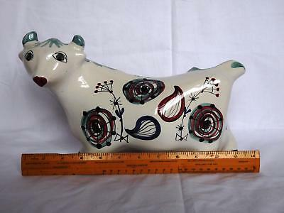Mid Century Cinque Ports Rye Pottery Bull Hand Painted Moneybox Piggy Bank