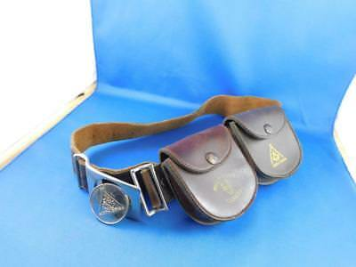 Boy Scouts Brown Belt Leather Silver Chrome Metal Buckle 2 Pouches Wolf Cubs
