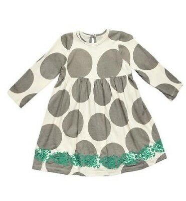 NWT PINK CHICKEN Boutique Gray Ivory Dot w Embrodery Anna Dress Girls sz 3T 3 yr