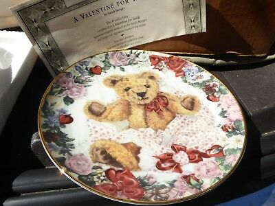 FRANKLIN MINT TEDDY BEAR PLATE A VALENTINE FOR TEDDY WITH COA  free shipping