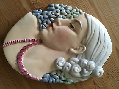 Art Deco Beswick ware wall plaque Hyacinth Lady/Lady with beads Miss Greaves 436