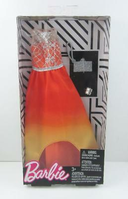 New 2018 Barbie Fashion Pack .. Orange Ombre Dress Silver Accents Purse Bracelet