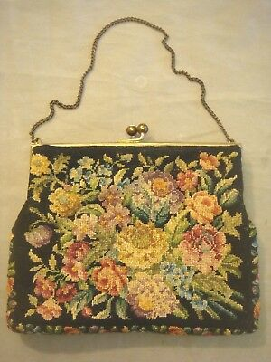 VINTAGE NEEDLEPOINT CLUTCH PURSE with CHAIN HANDLE/STRAP~EXCELLENT CONDITION