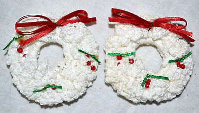 Vintage Lot Of 2 Handcrafted Crochet Wreath Christmas Tree Ornament