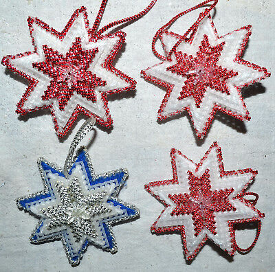 Vintage Lot Of 4 Handcrafted Colorful Bead Star Burst Christmas Tree Ornament