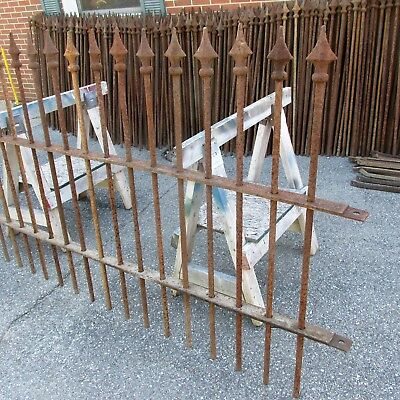 Vintage Antique Steel Fence with Cast Iron Finials Corner Post 150 feet plus