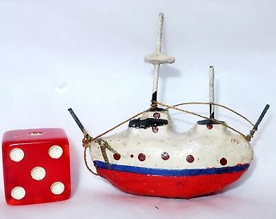 ANTIQUE MINIATURE TOY SHIP Composition Metal Masts Thread Rigging Collector Mini