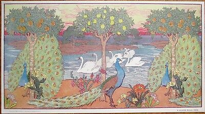Art Nouveau Peacock & Swan 1900 French Print in Pastel - Columbus Library, OH