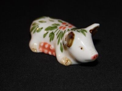 Cute Little Miniature Porcelain Pig Figurine With Green Leaves And Flower