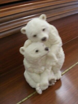 """NEW Stone Critters collectible polar bear figurine """"Bearly Touching"""" SC-1309"""