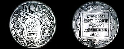 1685-IX Italian States Papal States 1 Testone World Silver Coin - Innocent XI