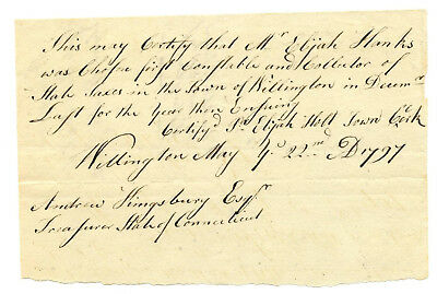 Early American Colonial Handwritten Document * Willington CT  May 22nd, 1797