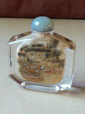 """Antique Reverse Painted Chinese Clear Gold Glass Snuff Bottle 4"""" Jade Vtg"""