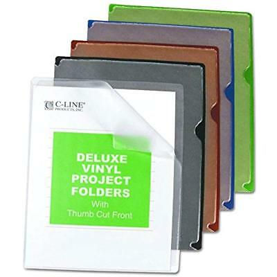 C-Line Deluxe Super Heavyweight Vinyl Project Folders With Colored Backs, Letter