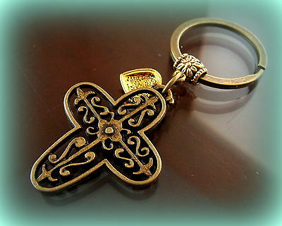 CROSS and HEART KEYCHAIN Jewelry ANTIQUE Edwardian BYZANTINE Medieval Style
