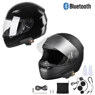 DOT Motorcycle Full Face Adult Helmet Size M-XL w/ Bluetooth Wireless Headset