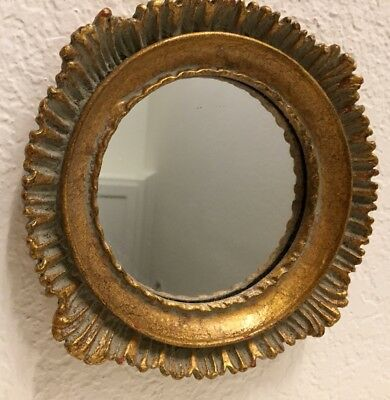 Vtg Florentine Italian Wood Gilt Tole Painted Wall Mirror Gold/Blue Mix 7.5""