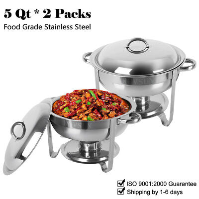 2 Pack Buffet Catering Chafer Round Chafing Dish 5Qt 6L Party