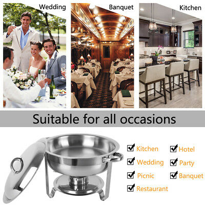 4 Pack Buffet Catering Chafer Round Chafing Dish 5Qt 6L Party