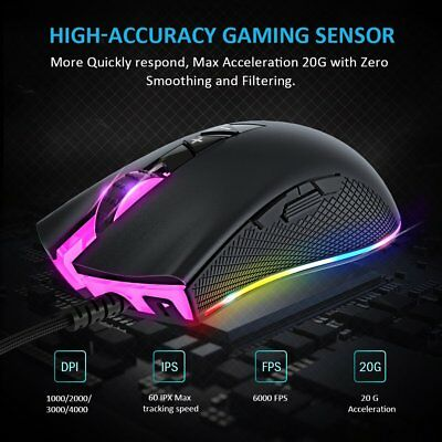 Fnova 8 Programmable Buttons RGB Optical Gaming Mouse  Wired Gaming Mice HOT