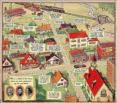 1938 PICTORIAL Map Town where we live radio program Vic and Sade POSTER 9744