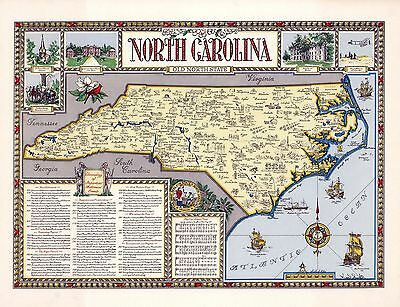 1958 PICTORIAL Map North Carolina cities historical sites events POSTER 9924