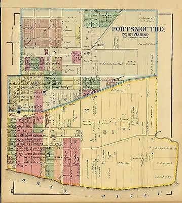 1877 map Atlas Upper Ohio River land ownership Portsmouth 5th 6th wards 122