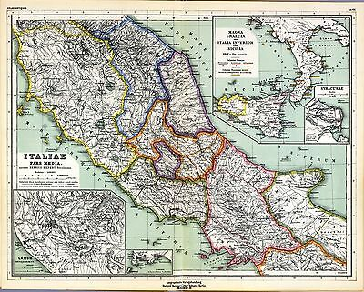 1903 old antique map of ANCIENT WORLD Italy ROME inserts SICILY Greece 8