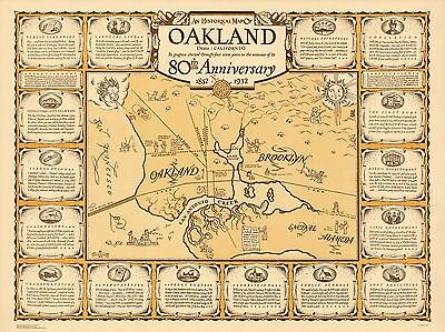 1940 pictorial map Oakland California on its 80th Anniversary POSTER 8860000
