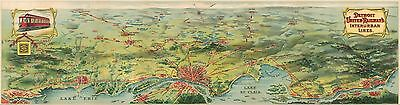 Detroit United Railway's Interurban Lines 1910 pictorial map POSTER 50610