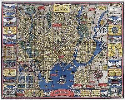1928 PICTORIAL Map New Haven Connecticut shows streets buildings POSTER 7916