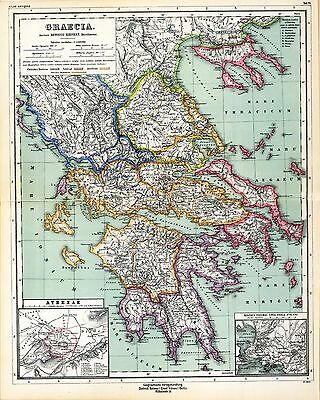 1903 old antique map of  ANCIENT WORLD empire GREECE city state ATHENS history 6