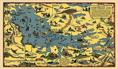 1936 pictorial map Kabetogama Lake Minnesota POSTER 8811000