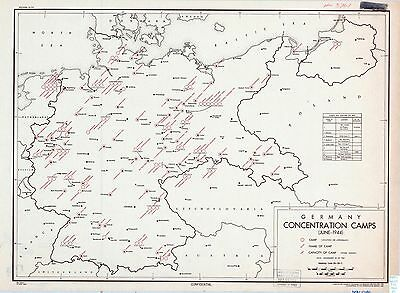 German Concentration Camps 1944 CIA declassified map World War 2 WWII