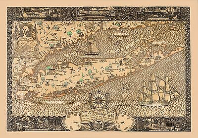 1928 pictorial map New York Long Island coast Connecticut in the Revolution 8217