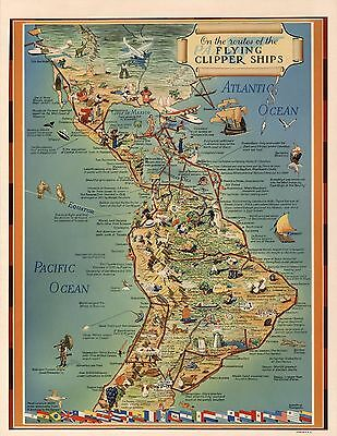 1940 pictorial map Pan American Airways routes flying clipper ship POSTER 8221