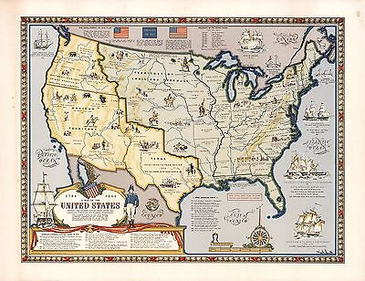 1958 pictorial map United States Boorders exploration of frontier POSTER 8785002