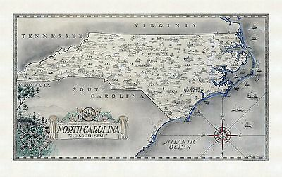 1934 historical and geographical map of the State of North Carolina POSTE 8436