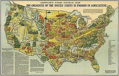 1922 PICTORIAL Map Armour food source agricultural regions United States 9905