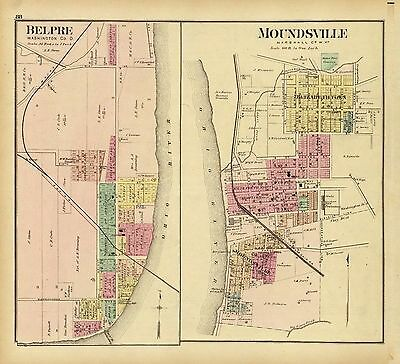 1877 OHIO RAILROAD MAP UNION MUSKINGUM KNOX NOBLE COUNTY Ancient tribes HUGE