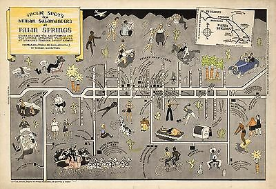 1933 pictorial map Frolic spots for Human Salamanders Palm Springs POSTER 8675