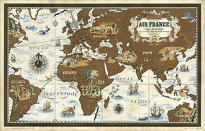 1939 pictorial early Air France map made beginning airline routes POSTER 8543000