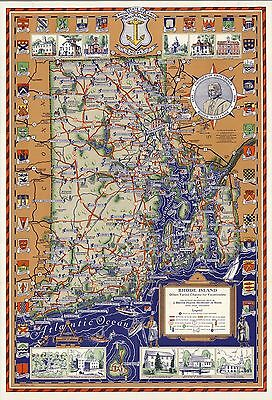 1939 pictorial map Rhode Island Offers Charms for Vacationists POSTER 8820003