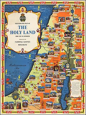 Holy Land 1950 pictorial Illustrated map National Savings Movement POSTER 43956